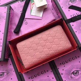 Gucci GG Supreme Zip Around Wallet Pink 410102