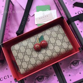 Gucci GG Supreme Zip Around Wallet With Cherries Red 476049