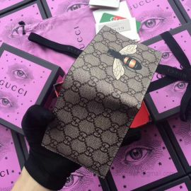 Gucci Bee Print GG Supreme Wallet Black 451268