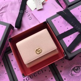 Gucci Leather Tri-Fold Wallet Pink 474746