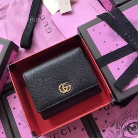 Gucci Leather Tri-Fold Wallet Black 474746