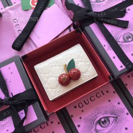 Gucci Signature Card Case With Cherries White 476050