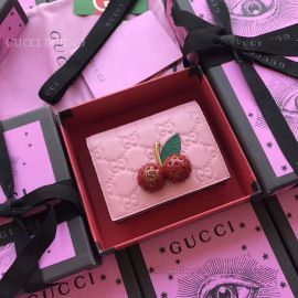 Gucci Signature Card Case With Cherries Pink 476050