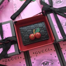 Gucci Signature Card Case With Cherries Black 476050
