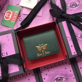 Gucci Garden Butterfly Print Calfskin Card Case Dark Green 516938