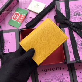 Gucci Garden Bat Print Calfskin Card Case Yellow 516938