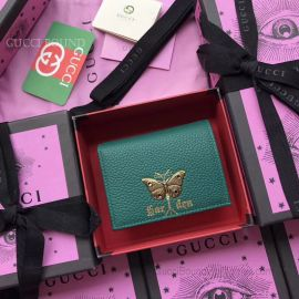 Gucci Garden Butterfly Print Calfskin Card Case Green 516938