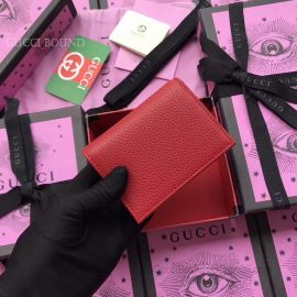 Gucci Garden Butterfly Print Calfskin Card Case Red 516938