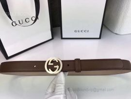 Gucci Leather Belt With Interlocking G Buckle Brown 25mm