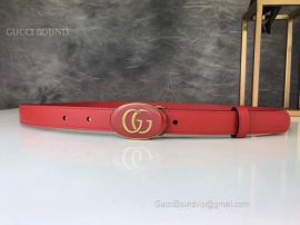Gucci Leather Belt With Oval Enameled Buckle Red 20mm