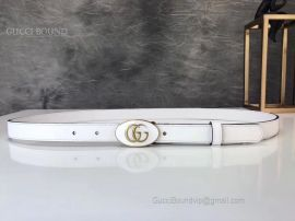 Gucci Leather Belt With Oval Enameled Buckle White 20mm