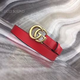 Gucci Red Leather Belt With Double G Buckle 20mm