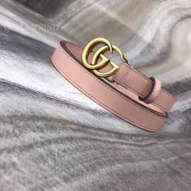 Gucci Pink Leather Belt With Double G Buckle 20mm