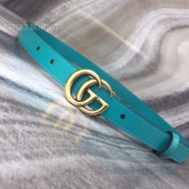 Gucci Leather Belt With Double G Buckle Cyan 20mm