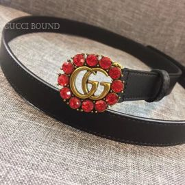 Gucci Leather Belt With Double G And Crystals Black 20mm