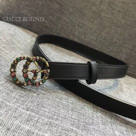 Gucci Leather Black Belt With Double G And Crystals 20mm