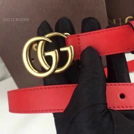 Gucci Leather Belt With Double G Buckle Red 20mm