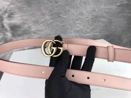 Gucci Leather Belt With Double G Buckle Pink 20mm