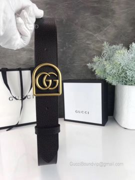 Black Leather Belt With Framed Double G Black 35mm