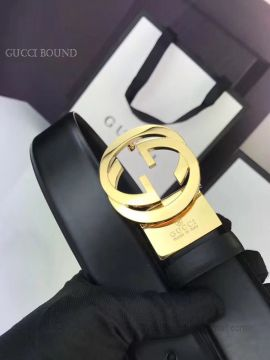Gucci Leather Belt With Interlocking G Buckle Black 35mm