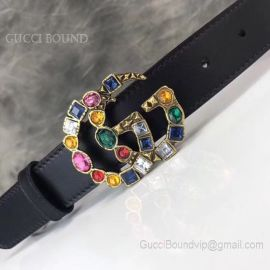 Gucci Leather Belt With Crystal Double G Buckle Black 30mm