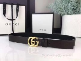 Gucci Black Leather Belt With Double G Buckle 30mm