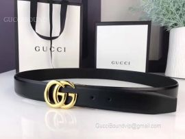Gucci Leather Belt Black With GG Buckle 30mm