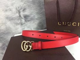 Gucci Leather Belt With Double G Buckle Red 30mm