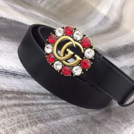 Gucci Leather Belt With Double G And Crystals Black 30mm