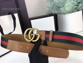 Gucci Web Belt With Double G Buckle Green And Red 40mm