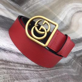 Gucci Leather Belt With Framed Double G Red 40mm