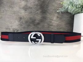 Gucci Web Belt With Double G Buckle Blue And Red Web 40mm