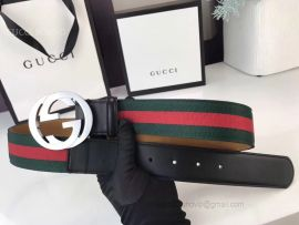 Gucci Web Belt Green And Red Web With Double G Buckle 40mm