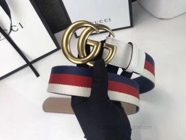 Gucci Sylvie Web Belt With Double G Buckle White 40mm