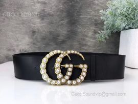 Gucci Leather Belt With Pearl Double G Black 70mm