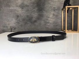 Gucci Leather Belt With Bee Buckle Black 20mm