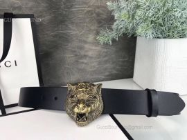 Gucci Leather Belt With Tiger Head Black 38mm