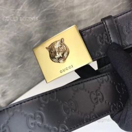 Gucci Signature Leather Belt With Tiger Black 38mm