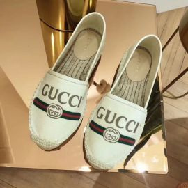 Gucci Logo Sylvie Canvas Espadrille White