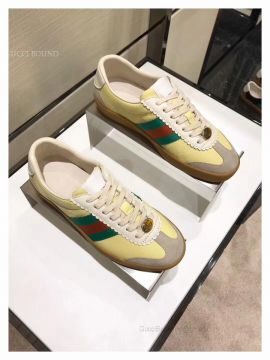 Gucci Leather And Suede Web Sneaker Off White