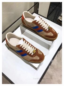 Gucci Leather And Suede Web Sneaker Brown