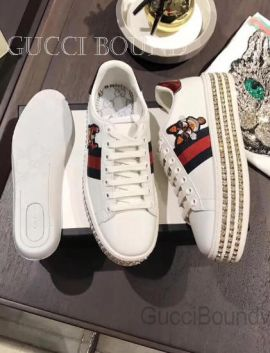 Gucci Leather Platform Sneaker With Dog White