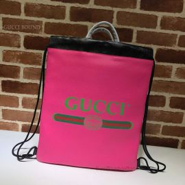 Gucci Print Leather Drawstring Backpack Pink 494053