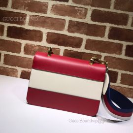Gucci Queen Margaret Leather Bag Red And White 476542