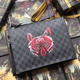 Gucci GG Supreme Pouch With Wolf Black 547084
