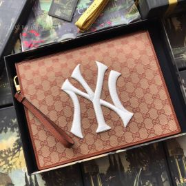 Gucci Leather Pouch With NY Yankees Patch Brown 547796