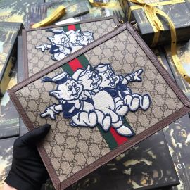 Gucci GG Supreme Pouch With Three Little Pigs Brown 557697