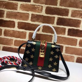 Gucci Sylvie Bee Star Mini Leather Bag Black 470270