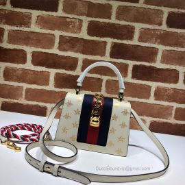 Gucci Sylvie Bee Star Mini Leather Bag White 470270