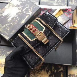 Gucci Sylvie Velvet GG Chains Mini Bag Black 494642